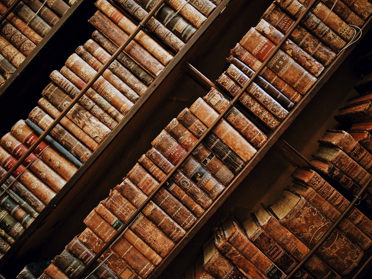 Libros antiguos, escritos y copiados con infinita paciencia y cuidado.