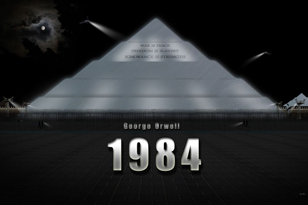 1984 de George Orwell, una novela futurista que pinta una sociedad esclavizada y vigilada.